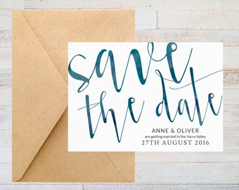 Save the date card, Printable save the date, Watercolour save the date, Green save the date, Wedding save the date, Save the date elegant