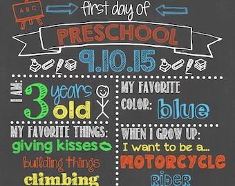 First Day of Preschool Chalkboard / First Day Chalkboard Sign /First Day of School Sign /First Day of Preschool Chalkboard Sign/Digital File