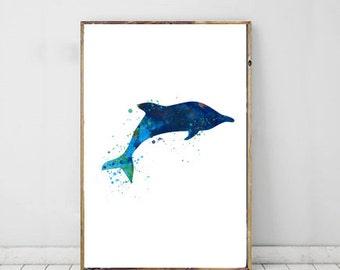 Dolphin Watercolor Nursery Print, Kids Wall Art, Instant Digital Download, Printable Art