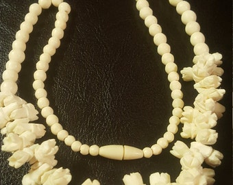 Reduced Vintage Ox Bone pikake Flower, Hawaiian Lei Carved Wedding Necklace 1950's.
