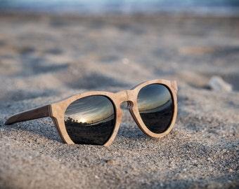 Gift Idea - NEW Stone(!) and Wood Frame Sunglasses, Round shape style Eyewear, Round Handmade Stone sunglasses