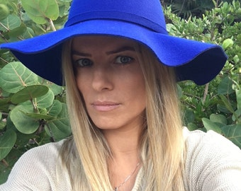 Floppy Hat, Fedora Hat, Fedora, Wide Brim Hat, Large Brimmed Hat, Women Floppy Hat, Fall Hat, Fashion Hat, Elegant Hat, Blue Hat, Sunhat