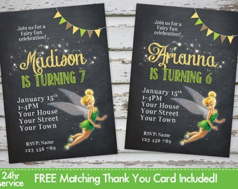 Tinkerbell Birthday Invitation Fairy Pirates Invitation Fairy Invite Tinkerbell Party Fairy Birthday with Free Matching Thank You Card