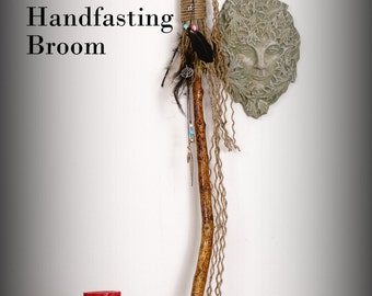 Witches broom, broom, besom, handfasting broom, magic broom, shaman stick with feathers, charms, crystals, stones, hand made one of a kind.
