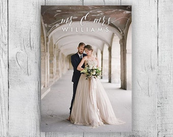 Printable Photo Wedding Thank You Card, Digital Design Wedding Card, Customized Calligraphy Thanks