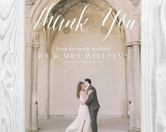 Custom Photo Wedding Thank You Card Calligraphy