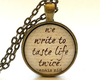 Anais Nin Quote Necklace   Glass Pendant   Key Ring   Gift for Writer   Free Gift Box   Writer Gift   Diary   Journal   Gift