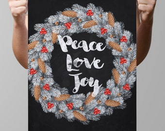 "INSTANT DOWNLOAD-Chalkboard-Rowan-Religious-Christian-Lord-Scripture-Bible Verse-Flower Wreath-Peace-Love-Joy-3 sizes-8.5x11-16x20""-No.357"