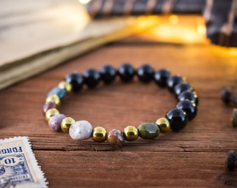 8mm - Black onyx & free form indian agate beaded stretchy bracelet, made to order yoga bracelet, mens bracelet, womens bracelet