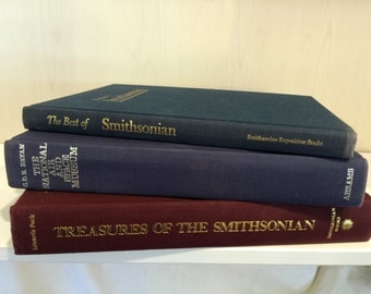 A trip through the Smithsonian in large format, coffee table books, Library display, home decor, photo props, vintage books. old book sets