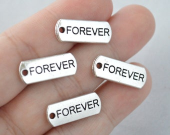 5 Pcs Forever Charms Antique Silver Tone 20x8mm - YD0899