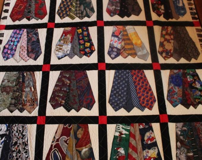 Memory quilt of men's ties, Full size quilt of men's ties, Queen size quilt, King size quilt, Handmade quilt from men's ties