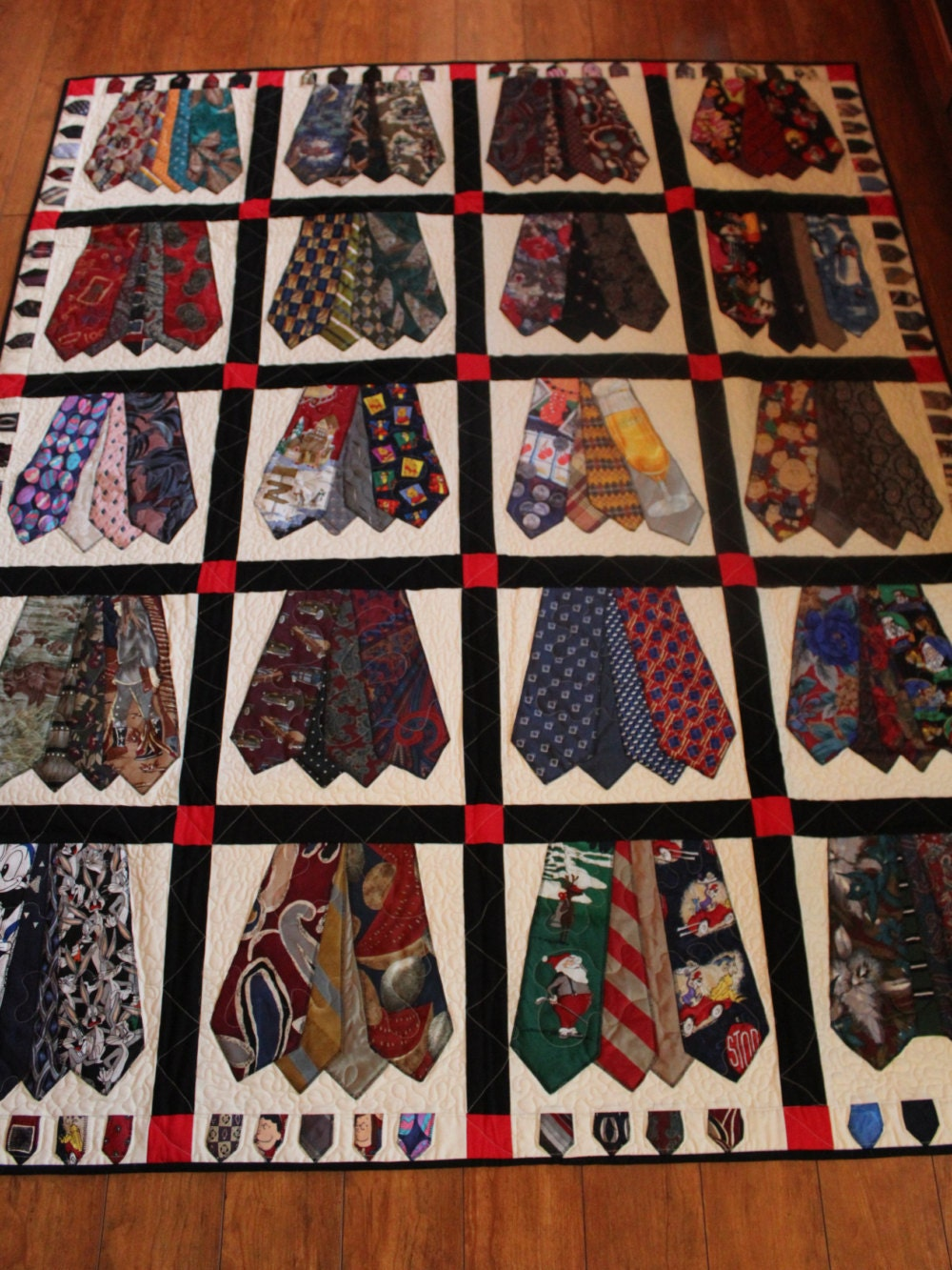 Memory quilt of men s ties Full size quilt of men s