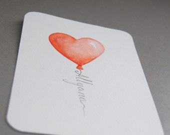 "Original watercolor painting, 4""x6"" / 10.5x15.5cm, 300g/140lbs, 300g/m3 paper, cold pressed cotton paper, Heart balloon with name"