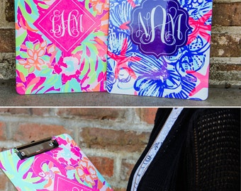 Lilly Pulitzer inspired Clipboard, Personalized Clipboard, Office Accessories, Teacher Gift, Monogram Clipboard, Custom Clipboard