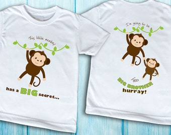 Front and Back, Monkey Big Brother Shirt, Pregnancy announcement shirt, This monkey has a big secret, big sister shirt