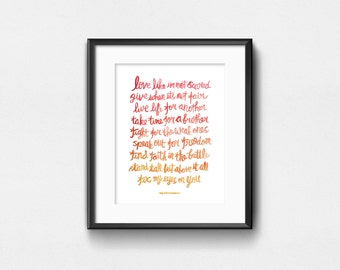 Fix My Eyes - For King & Country | Watercolor Quote | Lyrics Art Print | Inspirational Wall Art | Wall Decor | Hand Lettering | 8x10 | 11x14