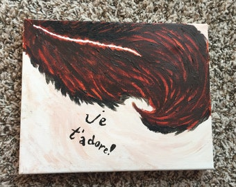 Je t'adore!, beautiful canvas painting, 8 x 10 inch canvas, je t'adore feather painting, oil painting