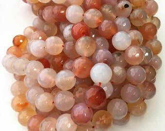 Natural Carnelian Beads, 10mm Beads, Faceted Beads, Carnelian Beads, Carnelian Stone, Orange Carnelian, Gemstone Beads, Orange Color, 36pcs