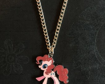 Silver Plated Pink My Little Pony Necklace
