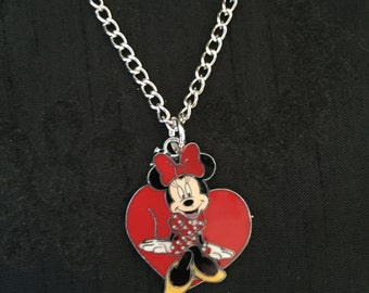 Silver Plated Disney Minnie Mouse Heart Necklace