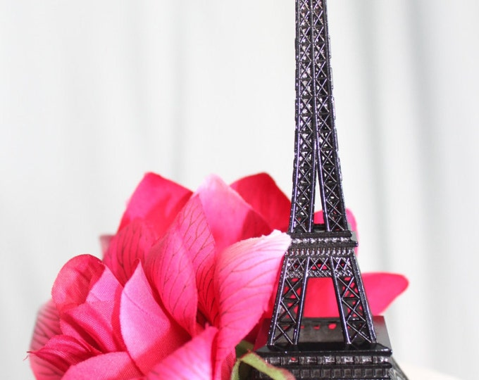 Featured listing image: Black Paris Eiffel Tower Cake Topper, Wedding, Sweet 16, Photo Prop, Centerpiece, Parisina Decoration, overthetopcaketopper