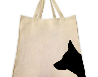 Canvas Tote Bag, Pet Tote Bag, German Shepherd Silhouette, Gifts for Dog Lovers, Cotton Shopping Handbag, Cute Custom Bags, Tote Tails