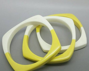 Set of 3 Banana Yellow Cream Square Stack Bracelets 60s Mod