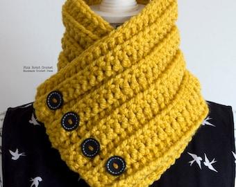 Chunky Crochet Cowl - Mustard Yellow Cowl - Crochet Cowl - Buttoned Cowl - Crochet Neck Warmer - Fall/Winter Fashion