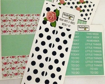 Mint, Polka Dots and Roses Weekly EC/Happy Planner Sticker Kit