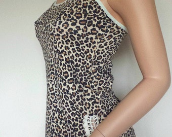Cotton camisole - cotton lingerie - leopard print underwear - cotton top - undergarment - gift for her by RedWings