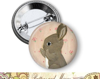 "Bunnies (12 choices) 1.25"" or Larger Pinback Button, Flatback or Fridge Magnet, Badge, Pocket Mirror, Keychain, Pin, bunny,  Easter, Rabbit"