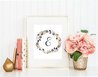 Letter E, Printable Art, Wall Decor, Wall Art Print, Monogram Art, Instant Download, Floral Wreath, Wall print, Wall Decor, Wall Art prints.