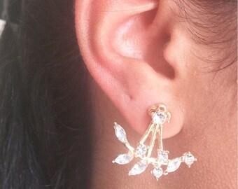Crystal Spike Earrings, Simple, Gold Earrings