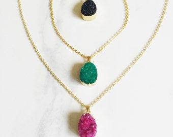 Green Druzy  Amethyst Necklace, Trend Necklace