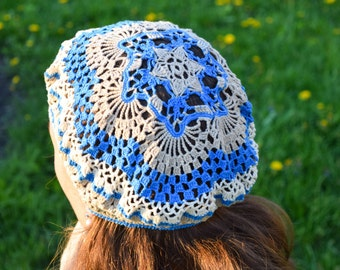 Handmade summer hat, french beret,cream and blue cap, see beret, 100% cotton,mother's day gift,lace crochet beret,Boho Chic, Shabby Chic
