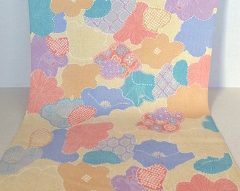 Vintage Japanese Wool Kimono Fabric with Cheerful Modern Flower Pattern