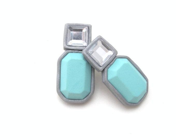 HEPBURN STUDS// Princess cut rhinestone and aqua polymer clay gemstone studs// Square stone clay earrings// Stylish stud earrings// #SE1018