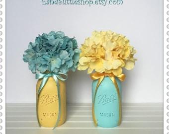 Beach Wedding Decor Centerpiece Yellow Aqua-Home Decor-Shabby Chic Decor-Painted Mason Jars-Vase Table Centerpiece Decor-Baby Shower Decor