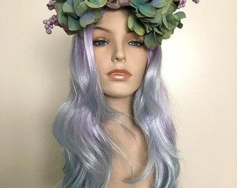 Springtime Sprite Lavender Light Blue Ombre Floral Wig Headpiece - Fairy, Fae, Goddess, Nymph, Costume, Cosplay, Drag