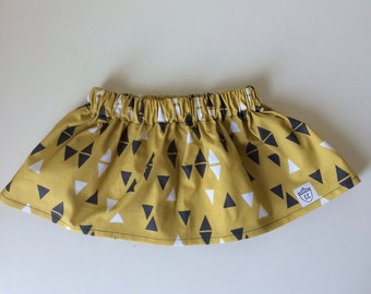 SALE! Girls Triangle Skirt on Mustard Yellow, Modern Girls Skirt
