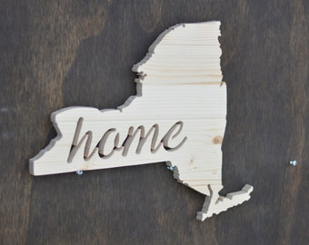 "New York State Wood Cutout ""Home"""