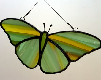 Stained Glass Butterfly - Green & Yellow Butterfly