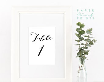 Instant Download | Printable Table Numbers, Wedding, Decor, Table Numbers, Simple, Elegant, Signs