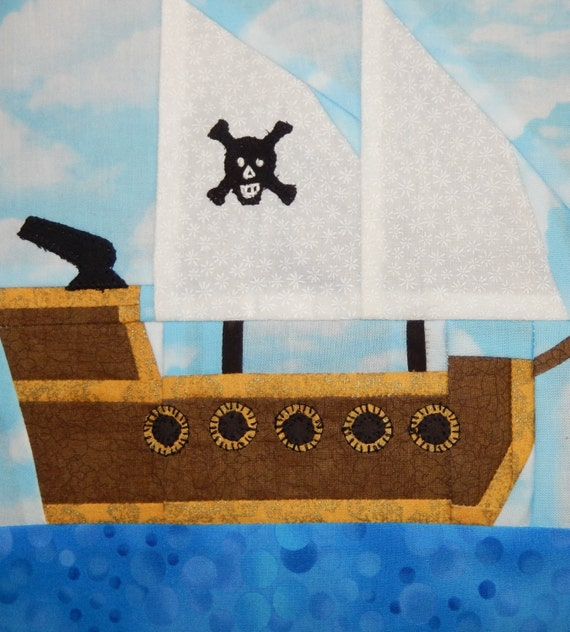 Pirate Ship Paper Pieced Pdf Quilt Pattern Baby By
