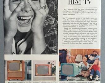 1956 Hotpoint Hi-Vi TV Print Ad - Television - Christmas Ad