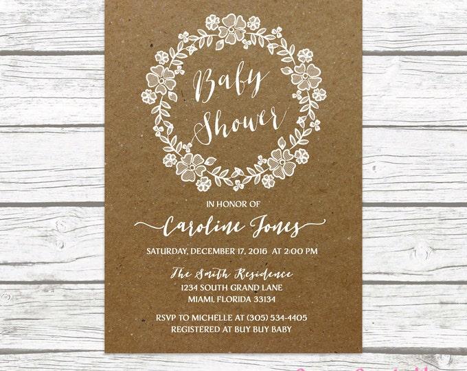 Kraft Rustic Lace Wreath Floral Baby Shower Invitation, White Lace Boy Girl Gender Neutral Boho Vintage Invite, Printable Printed Invitation
