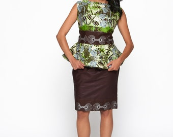 Brown & Mint Multicoloured Woodin Ankara African Print Business Suit