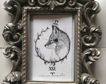 "Art Tattoo Original Sheet in ink "" Lobito Elegante """