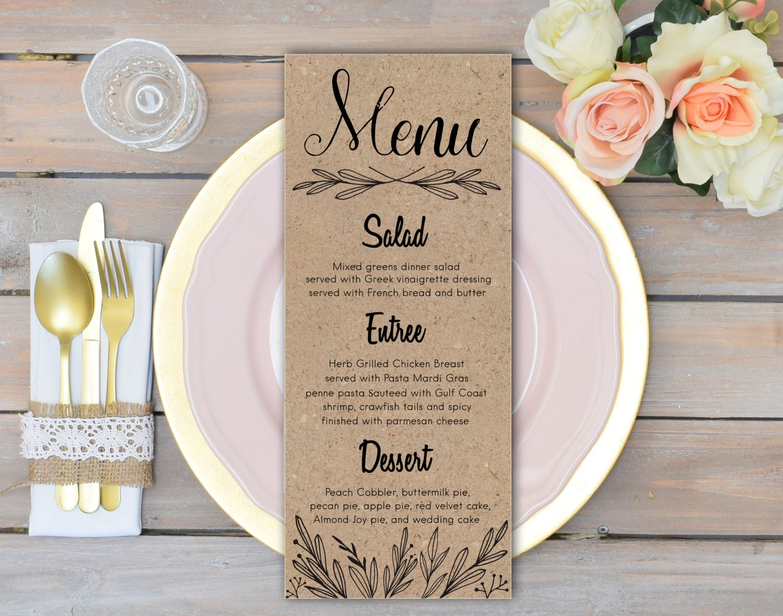 rustic wedding menu cards rehearsal dinner menu rustic wedding. Black Bedroom Furniture Sets. Home Design Ideas